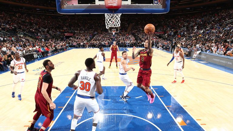 Jordan Clarkson of the Cleveland Cavaliers shoots the ball against the New York Knicks