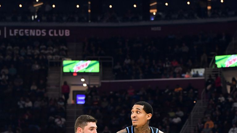 Jordan Clarkson #8 of the Cleveland Cavaliers drives past Joe Harris #12 of the Brooklyn Nets during the first half at Rocket Mortgage Fieldhouse on November 25, 2019 in Cleveland, Ohio