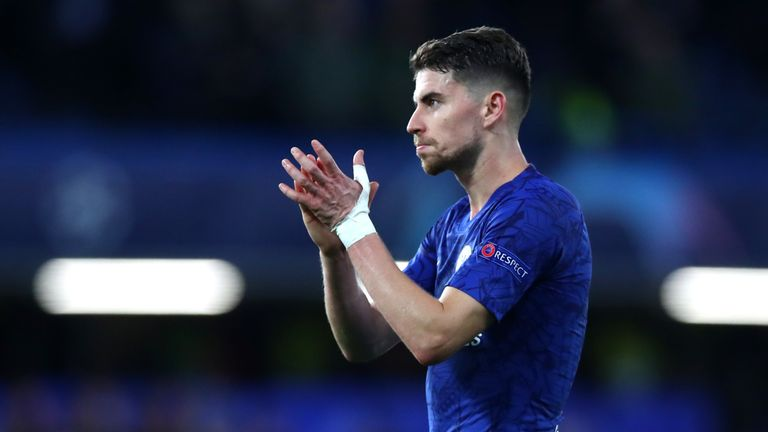 Star man: Jorginho scored two and made the most passes of any player on the pitch