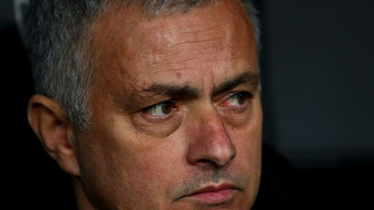 Jose Mourinho the head coach / manager of Manchester United during the UEFA Champions League Group H match between Valencia and Manchester United at Estadio Mestalla on December 12, 2018 in Valencia, Spain