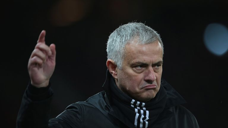 Manager Jose Mourinho of Manchester United watches from the touchline during the Premier League match between Manchester United and Fulham FC at Old Trafford on December 8, 2018 in Manchester, United Kingdom.
