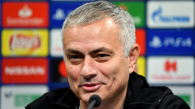 Jose Mourinho, Manager of Manchester United speaks to the media during the Manchester United Press Conference at Estadio Mestalla on December 11, 2018 in Valencia, Spain.