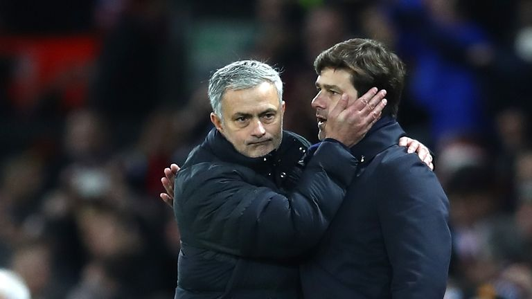 Jose Mourinho is congratulated by Mauricio Pochettino after his Man Utd's 1-0 win at Old Trafford on December 11, 2016