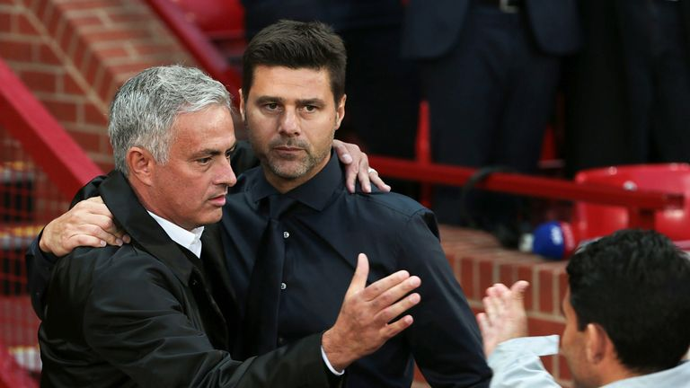 Jose Mourinho greets Mauricio Pochettino ahead of the Premier League match between Manchester United and Tottenham Hotspur at Old Trafford on August 27, 2018