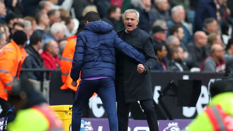 Mourinho celebrates Spurs' first goal during the 3-2 success in east London