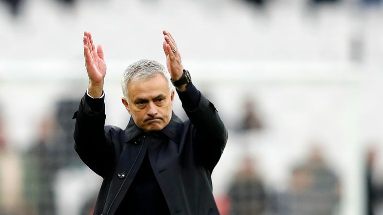 Jose Mourinho applauds the travelling Spurs supporters at the London Stadium