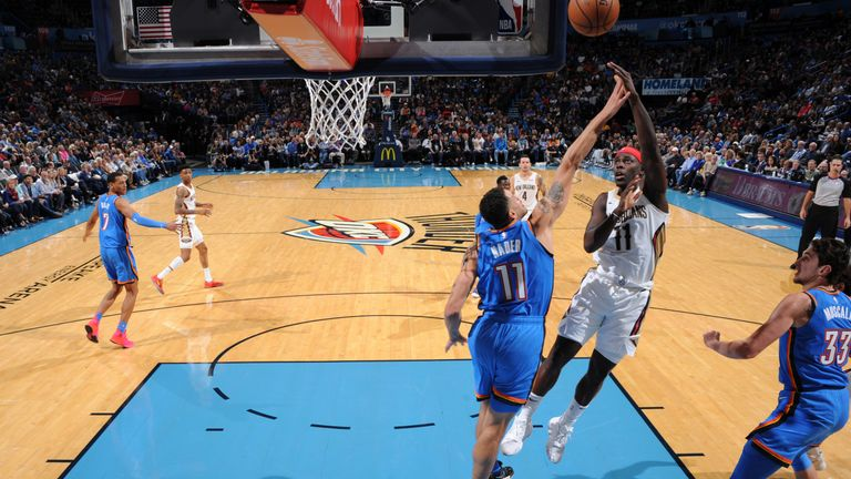 Jrue Holiday of the New Orleans Pelicans shoots the ball against the Oklahoma City Thunder