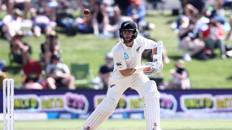 Kane Williamson bats for New Zealand on day two of the first Test against England at Bay Oval