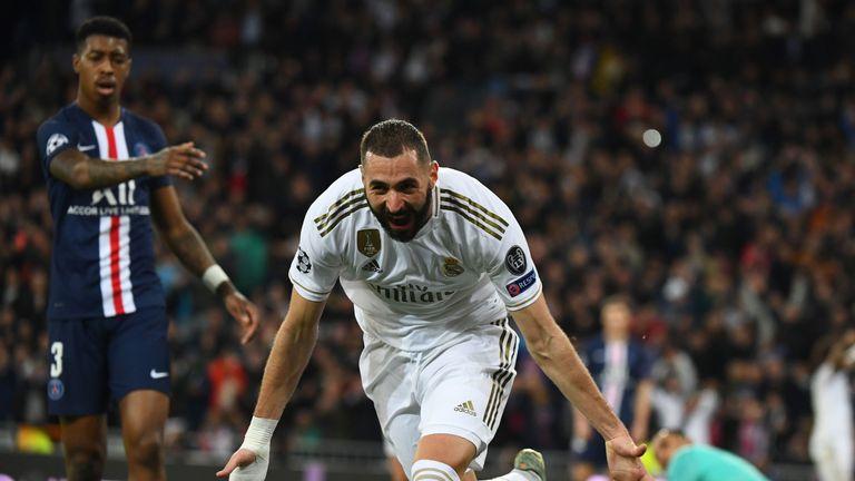 Karim Benzema scored twice in Real Madrid's 2-2 draw with PSG