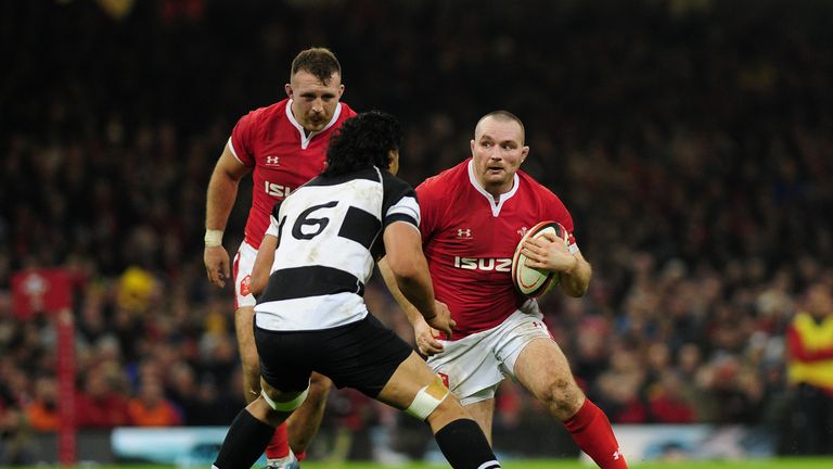 Ken Owens looks to take on the Barbarians defence