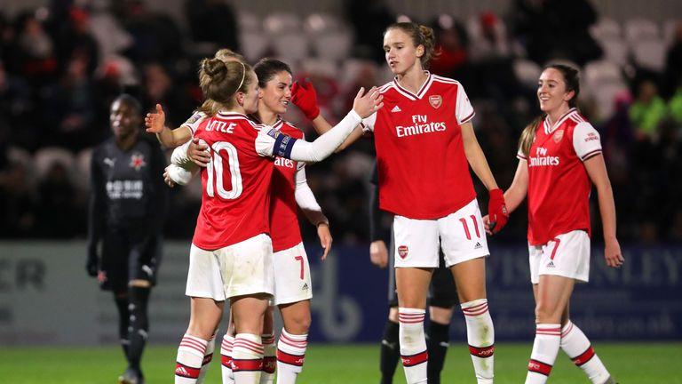 Kim Little celebrates after scoring Arsenal's second goal during the UEFA Women's Champions League Round of 16 Second Leg vs Slavia Prague