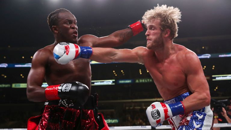 November 9, 2019; Los Angeles, CA, USA; KSI and Logan Paul during their bout at the Staples Center in Los Angeles, CA.  Mandatory Credit: Ed Mulholland/Matchroom Boxing USA