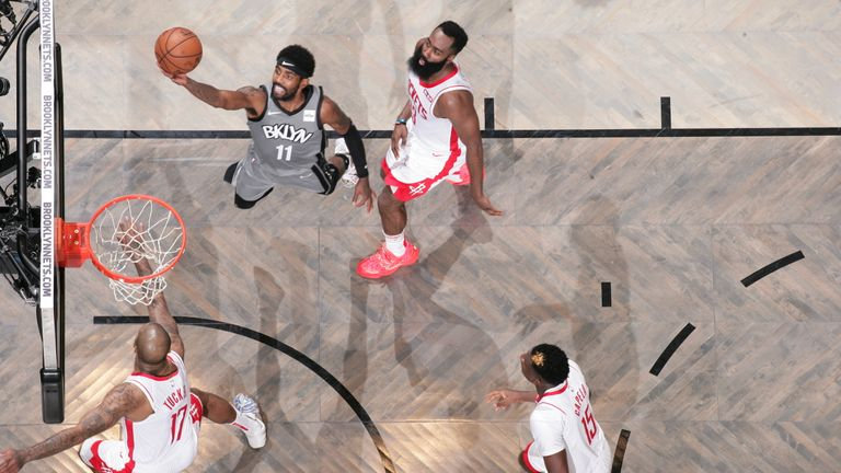 Kyrie Irving of the Brooklyn Nets shoots the ball against the Houston Rockets