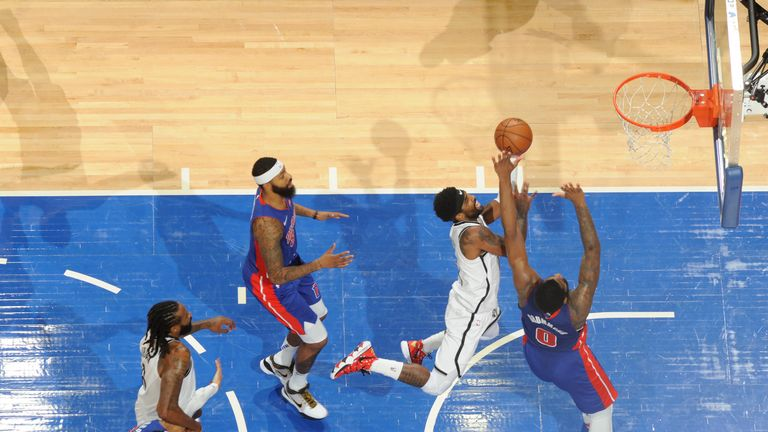 Kyrie Irving of the Brooklyn Nets shoots the ball against the Detroit Pistons