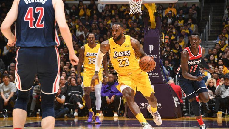 Los Angeles Lakers against Washington Wizards in the NBA