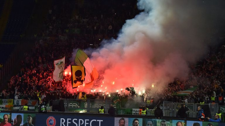 during the UEFA Europa League group E match between Lazio Roma and Celtic FC at Stadio Olimpico on November 7, 2019 in Rome, Italy.