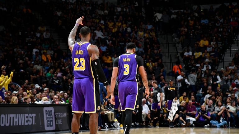LeBron James and Anthony Davis of the Los Angeles Lakers
