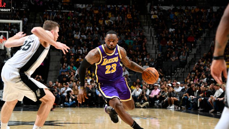LeBron James of the Los Angeles Lakers handles the ball against the San Antonio Spurs