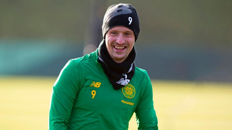 Leigh Griffiths jokes during a training session at Lennoxtown on Friday