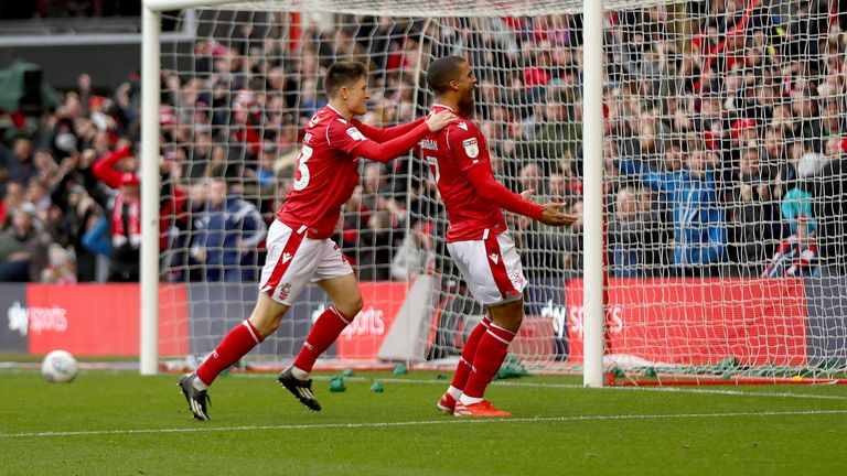 Lewis Grabban celebrates with Joe Lolley after putting Nottingham Forest ahead