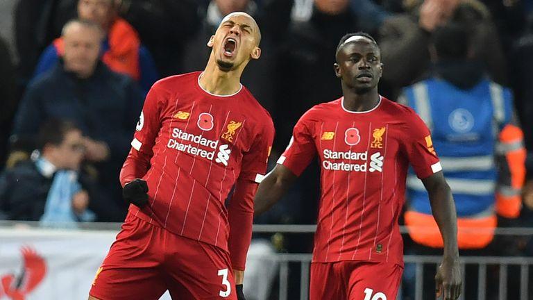 Fabinho celebrates scoring for Liverpool vs Man City