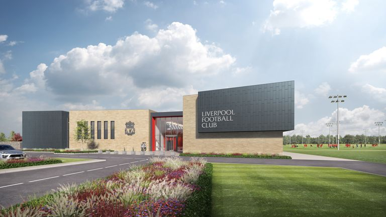 An artist's impression of the first-team entrance at Liverpool's new Kirkby training ground