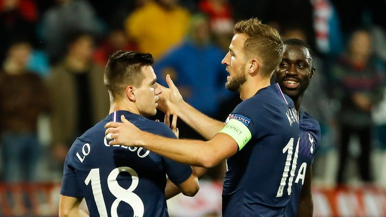 Harry Kane congratulates Giovani Lo Celso on his goal
