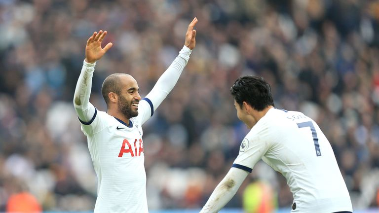 Lucas Moura celebrates after doubling Spurs' lead
