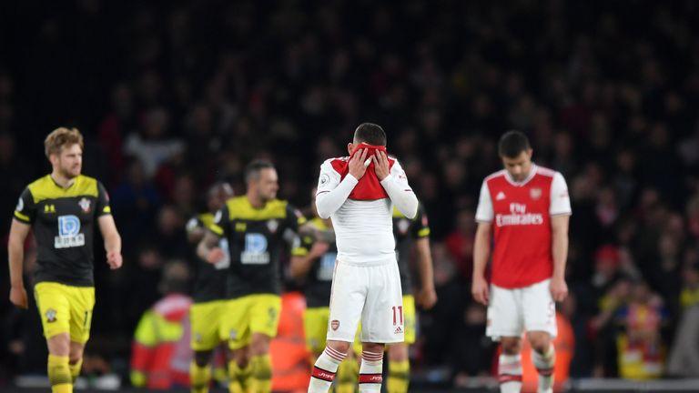 Lucas Torreira reacts after Southampton go 2-1 up