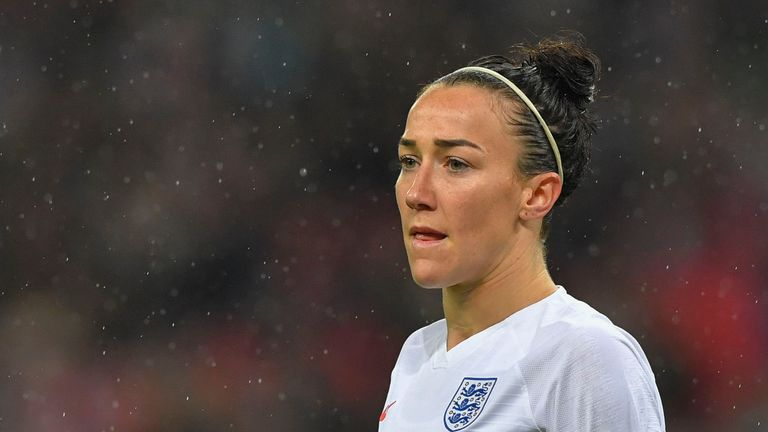 Lucy Bronze of England looks onduring the International Friendly between England Women and Germany Women at Wembley Stadium on November 9, 2019 in London, England.