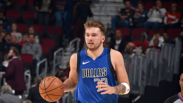 Luka Doncic of the Dallas Mavericks handles the ball against the Cleveland Cavaliers