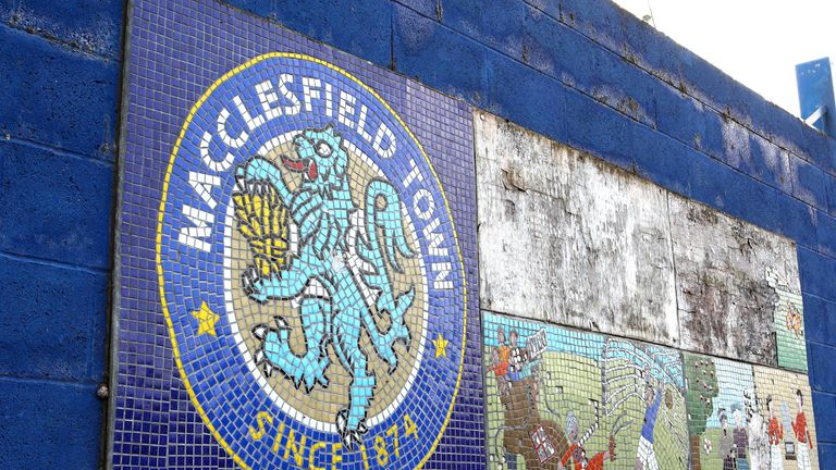 MACCLESFIELD, ENGLAND - SEPTEMBER 24: A mosaic display is seen outside the stadium prior to the Leasing.com Trophy match between Macclesfield Town and Port Vale at Moss Rose Ground on September 24, 2019 in Macclesfield, England. (Photo by Charlotte Tattersall/Getty Images)