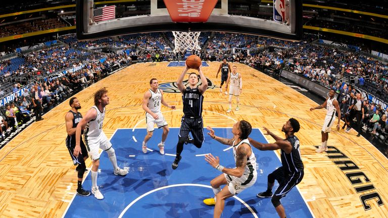 Josh Magette of the Orlando Magic goes up for a layup against the Milwaukee Bucks