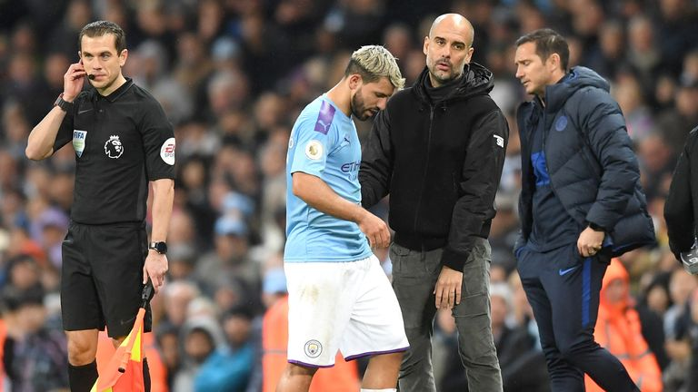 Sergio Aguero was injured during the win over Chelsea