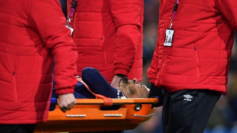West Ham playmaker Manuel Lanzini is stretchered off injured against Burnley