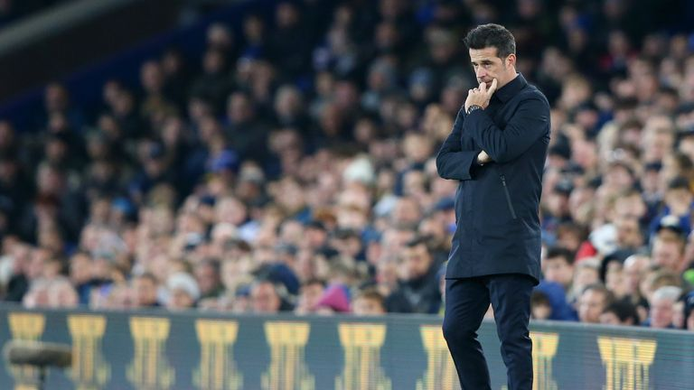 Marco Silva looks dejected following his sides 2-0 defeat to Norwich City
