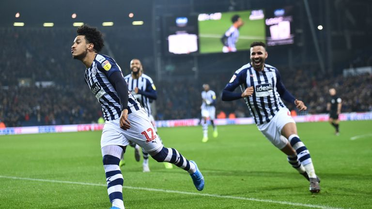 Matheus Pereira of West Bromwich Albion celebrates after scoring the second goal during the Sky Bet Championship match between West Bromwich Albion and Bristol City at The Hawthorns