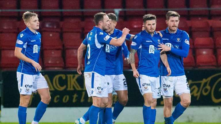 Matty Kennedy celebrates with his team-mates after scoring against Aberdeen