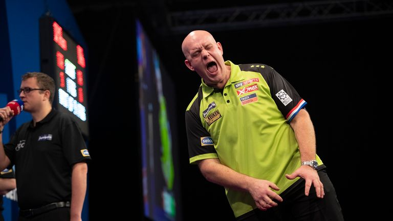 Michael van Gerwen is bidding to close to within one world title of Raymond van Barneveld and the late Eric Bristow