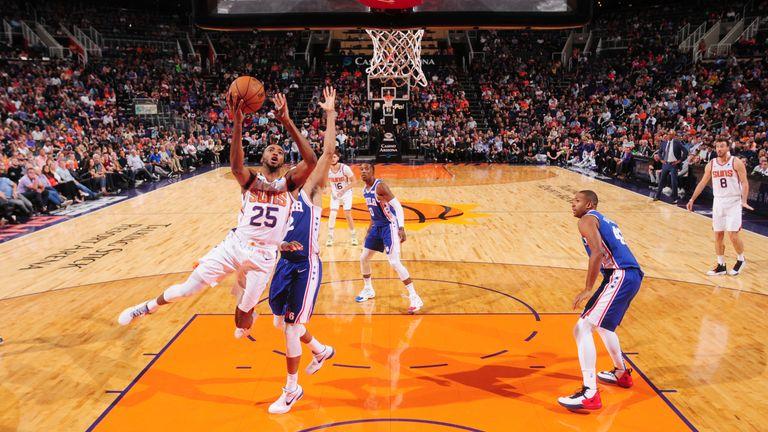 Mikal Bridges of the Phoenix Suns shoots the ball against the Philadelphia 76ers