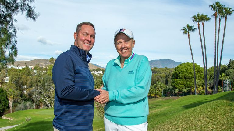 LPGA commissioner Mike Whan with LET board chair Marta Figueras-Dotti