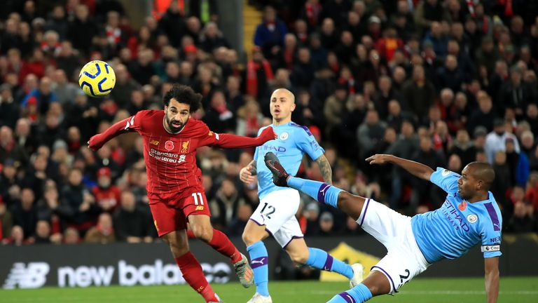 Mohamed Salah scores Liverpool's second goal against Man City