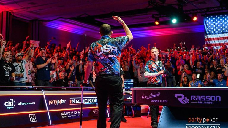 Team USA in action at the Mosconi Cup on day two (Credit: JP Parmentier/Matchroom Multi Sport')