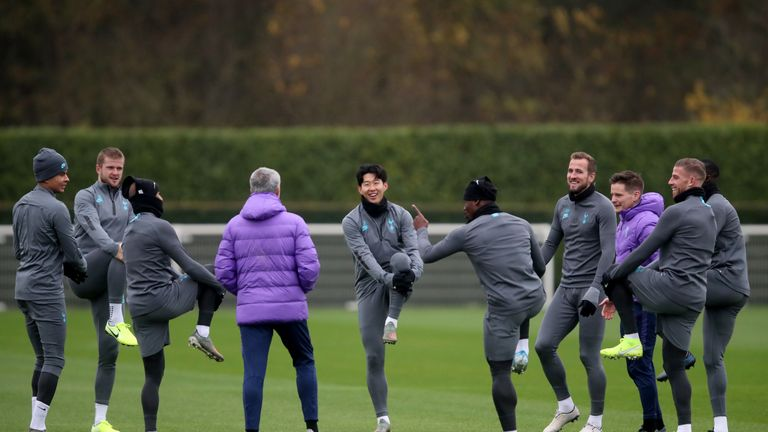 Mourinho took training ahead of his first Champions League game in charge of Tottenham
