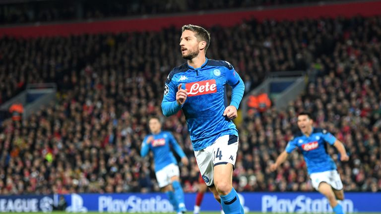 Napoli's Dries Mertens celebrates scoring against Liverpool