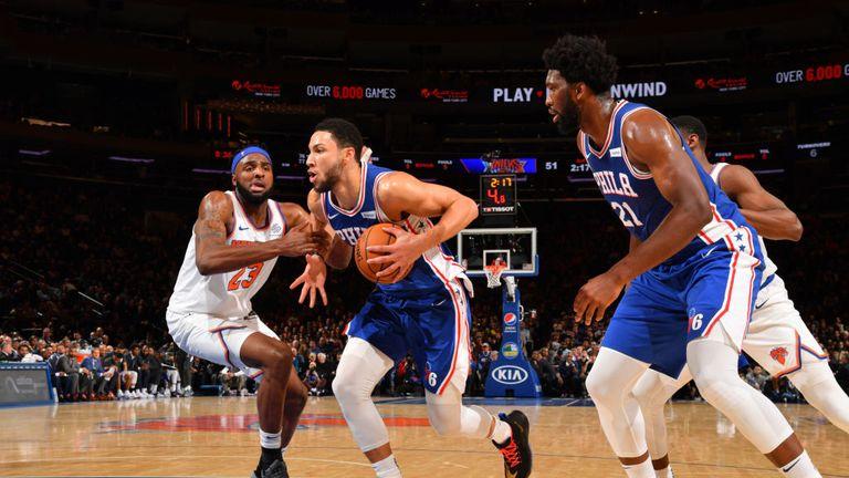 Philadelphia 76ers against New York Knicks in the NBA