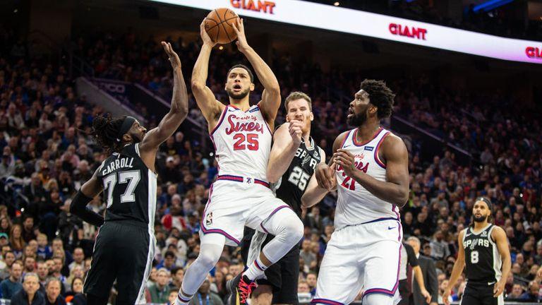 San Antonio Spurs against Philadelphia 76ers in the NBA