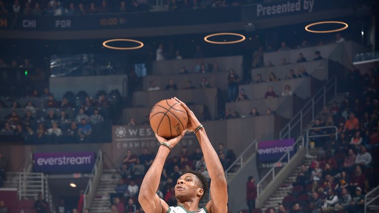 Giannis Antetokounmpo fires up a jumpshot in the victory over the Cavs
