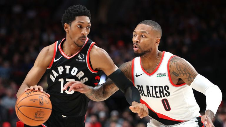 Toronto Raptors against Portland Trail Blazers in the NBA