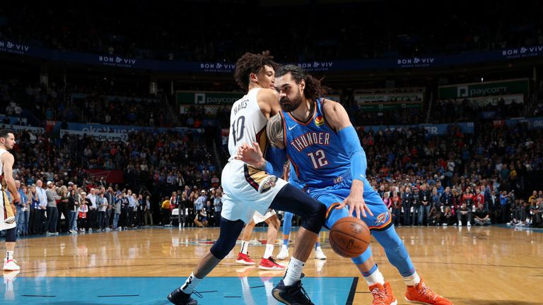 Oklahoma City Thunder against New Orleans Pelicans in the NBA